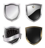 Shields. Metal shields design isolated on white Royalty Free Stock Photography