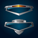 Shields. A set of chrome metallic shields for your branding templates Royalty Free Stock Photos