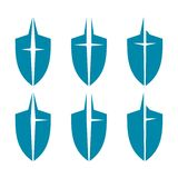 Shields. Six variants of blue schematic shield design Stock Images