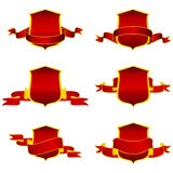 Shields. Collection of vector red shield Royalty Free Stock Image