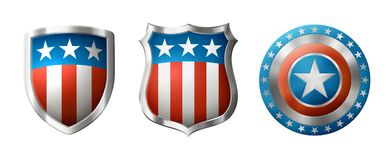 Shields with Amrerican Design Royalty Free Stock Photo