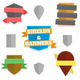 Shields and banners Stock Photos