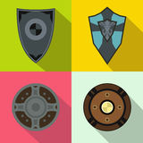 Shields banners set, flat style Stock Photos