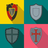 Shields banners set, flat style Stock Photography