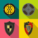 Shields banners set, flat style Royalty Free Stock Photography
