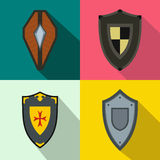 Shields banners set, flat style Royalty Free Stock Image