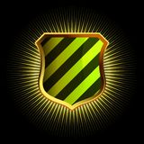 Shields in black and green hazard stripes. EPS 8 Royalty Free Stock Image