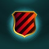Shields in black and red hazard stripes. EPS 8 Stock Image