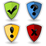 Shields with check marks Royalty Free Stock Photos