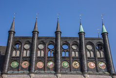 Shields of the city hall in Lubeck. Germany Stock Photo