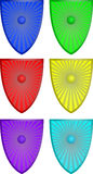Shields. Colorfull shields with a dot in the middle Stock Images