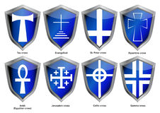 Shields with crosses. Of world religions royalty free illustration