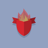 Shields with fire. element heraldic Royalty Free Stock Photo