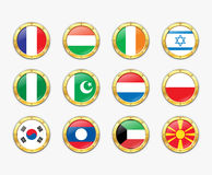 Shields with flags. Royalty Free Stock Image