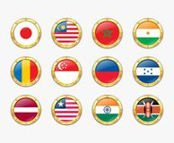 Shields with flags. Royalty Free Stock Photo