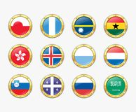 Shields with flags. Royalty Free Stock Images