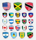 Shields  with flags  of the countries of North America Royalty Free Stock Photography