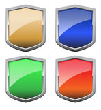 Shields. Four shields in different colors Royalty Free Stock Image