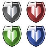 Shields with hearts. Colored shields with hearts royalty free illustration