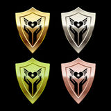 Shields with human arms Royalty Free Stock Photos