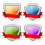 Shields icons with red ribbon Stock Images