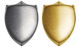 Shields made from bronze and steel metal. Isolated vector illustration