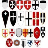 Shields medieval knights royalty free stock photo