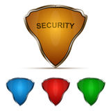 Shields. Protection shield set  on white backgound. 3D vector illustration, security and safety concept Stock Photography