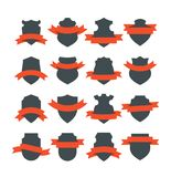 Shields With Ribbons. Collection of medieval shield badges with red ribbons wrapped around them. Blank vector signs with placeholders Stock Photo