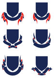 Shields and Ribbons. Set of Banners. Heraldic design element Stock Photo