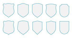 Shields set defence templates. Graphic resource decoration design elements Stock Photography