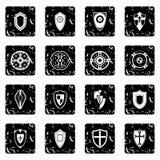 Shields set set icons, grunge style. Shields set icons in grunge style isolated on white background. illustration vector illustration