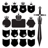Shields and sword. On the white background Stock Images