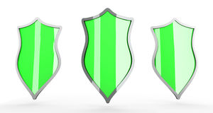 Shields. Three Shields for protection. 3D rendered Illustration Stock Photo