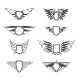 Shields with wings templates Stock Image