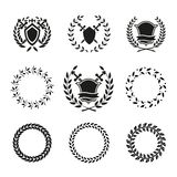 Shields and Wreaths Labels. Variety Vector Black and White Shields and Wreaths. Can be Used for Logos Stock Photo