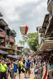 Shifen, Taiwan - July 24, 2016 : The Shifen Old Street section o. PingXi, Taiwan - Juli 24, 2016: People decorating and releasing their paper lanterns in PingXi Stock Photography