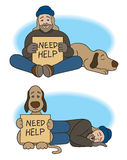 Shift Change. Homeless man and his dog share begging duties Stock Images