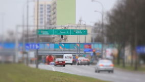 Shift focus view of the street in Warsaw. stock footage