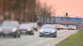 Shift focus view of the street in Warsaw. stock video