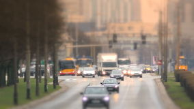 Shift focus view of the street in Warsaw. stock video footage