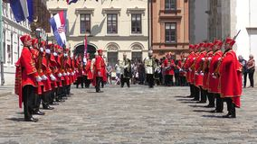 Shift of the Guards Ceremony in Zagreb stock footage