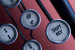 Shift key. Of an old typewriter Royalty Free Stock Photography