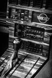 Shift knob of a sports car Chevrolet Corvette (C4) Targa, 1988. BERLIN - JUNE 14, 2015: Shift knob of a sports car Chevrolet Corvette (C4) Targa, 1988. Black and royalty free stock image