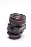 Shift lens. Black manual shift lens isolated on white background Royalty Free Stock Image