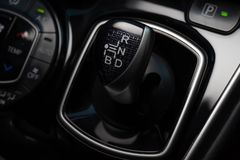 Shift lever ,Gear stick with multimedia console royalty free stock photos