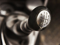 The shift lever manual gearbox closeup Stock Image