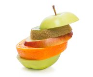 Shifted layers multifruit. Multifruit with shifted layers. On the white background Royalty Free Stock Photos