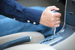 Shifting car gear stick Royalty Free Stock Photos