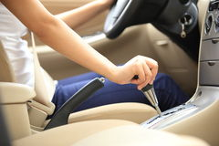 Shifting car gear stick Royalty Free Stock Images